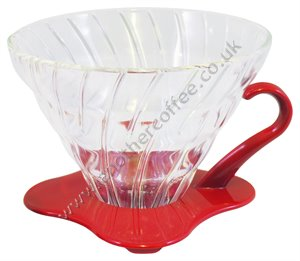 Hario V60 Glass Coffee Dripper Size 01 - Red & Clear