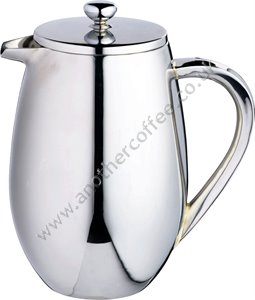 Double Wall Stainless Steel Jug Cafetiere 8 Cup - Polished
