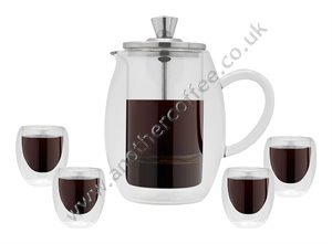 Grunwerg 4 Cup Double Walled Glass Cafetiere and Cup Gift Set