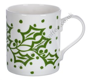 Bone China Mug: Green Holly