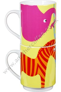 Wild Animal Design Stacking Mugs (Set of 2)