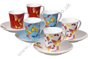 Tapered Coffee Cups With Butterfly Design (Set of 6)