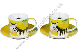 Jungle Animal Cups & Saucers - Zebra (Set of 2)