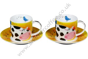 Farm Animal Cups & Saucers - Cow (Set of 2)