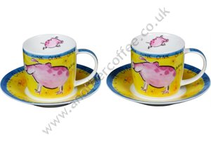 Farm Animal Cups & Saucers - Pig (Set of 2)