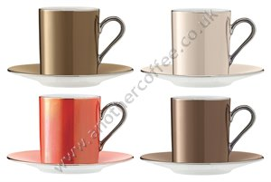LSA Polka Espresso Cup & Saucer - Autumn Metallics (Set of 4)