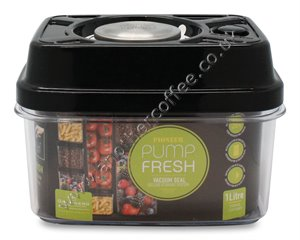 Pump Fresh Vacuum Canister 1000ml - Black & Stainless Steel