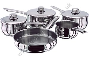 Stellar 1000 S1C1 5 Piece Set - Milk Pan, 3 Saucepans & Frying Pan