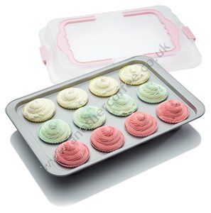 Sweetly Does It Rectangular Non-Stick Cup Cake Baking Tray & Carrier